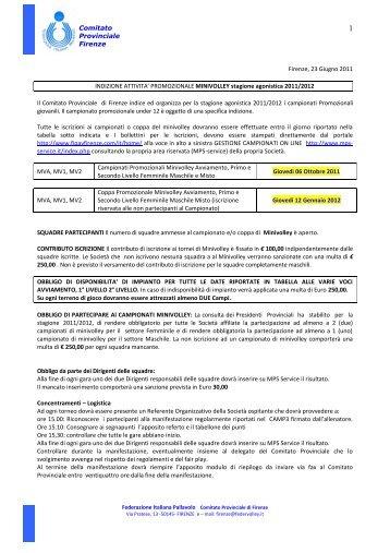 Comitato Provinciale Firenze Firenze, 23 ... - Polisportiva SIECI