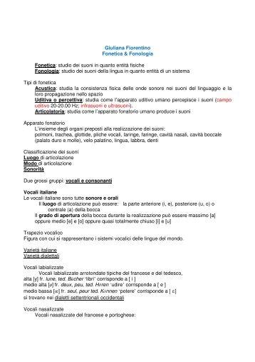 Giuliana Fiorentino Fonetica & Fonologia Fonetica: studio dei suoni ...