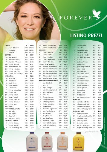 LISTINO PREZZI - Forever Living Products