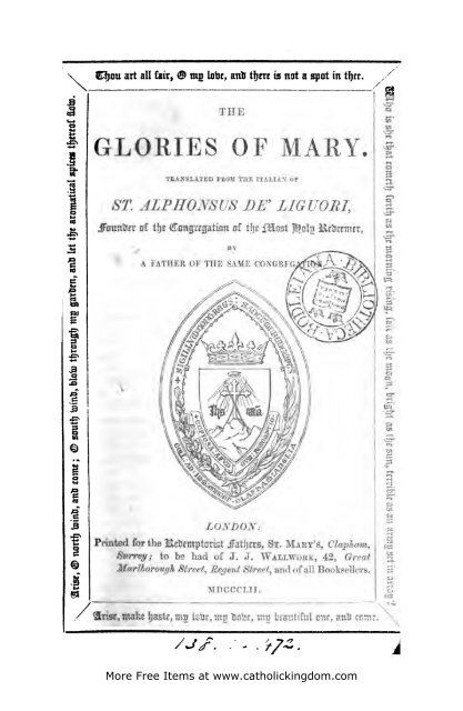 Glories of Mary_LIGUORI - the Catholic Kingdom!