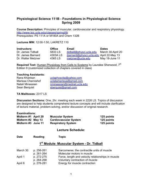Physiological Science 111b Foundations In Physiological Ucla