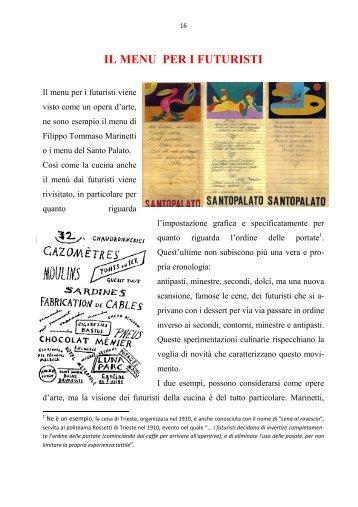 """IL MENU PER I FUTURISTI""""Manifesto Culinario Futurista"""". L ..."""