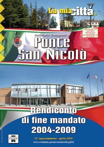 Notiziario aprile 2009 - Bilancio di fine mandato - Comune di Ponte ...