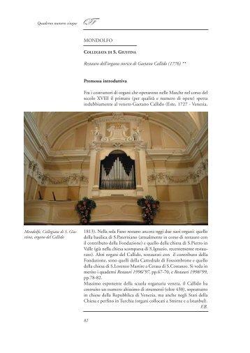Collegiata di S. Giustina (Mondolfo) - Restauro dell'organo storico di ...