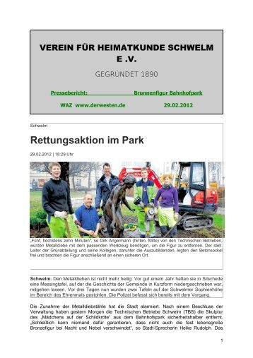 Rettungsaktion im Park - Verein für Heimatkunde Schwelm eV