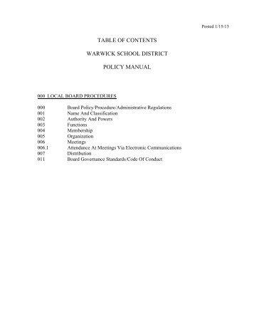 Board Policies - Warwick School District