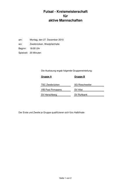 Spielplan - Futsal-Kreismeisterschaften - VfB Post Pirmasens eV