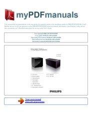 User manual PHILIPS RWSS9500 - MY PDF MANUALS