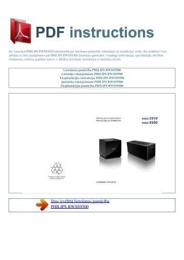 Lietošanas pamācība PHILIPS RWSS9500 - PDF INSTRUCTIONS ...