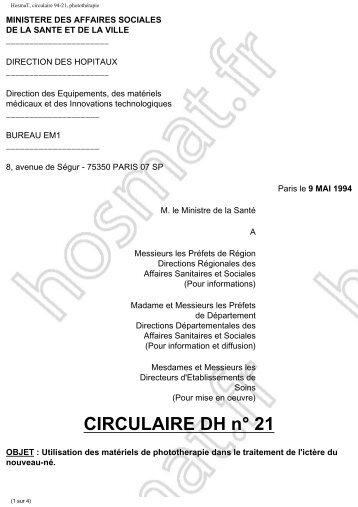 Circulaire DH 21 du 9 mai 1994 - HosmaT