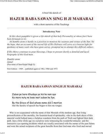 Eine Kurze Lebensskizze Von Hazur Baba Sawan Singh Ji