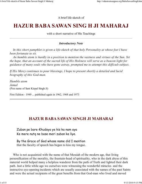 A Brief Life Sketch Of Hazur Baba Sawan Singh Ji Maharaj Www