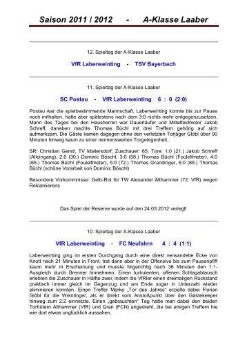 Saison 2011 / 2012 - A-Klasse Laaber - VfR Laberweinting