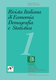 Rivista Italiana di Economia Demografia e Statistica 1 - Sieds