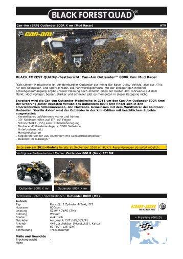 Can-Am (BRP) Outlander 800R Xmr EFI Mud Racing - Black Forest ...