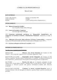 CURRICULUM PROFESSIONALE - Comune di Zola Predosa