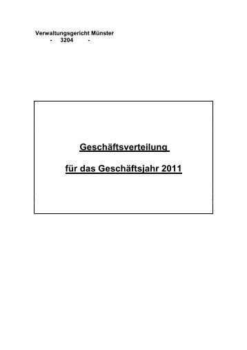 Geschäftsverteilungsplan 2011 in Rechtssachen
