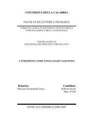 UNIVERSITÁ DELLA CALABRIA FACOLTÁ DI ... - Mondoailati
