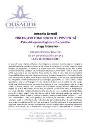 Antonio Bertoli L'INCONSCIO COME VINCOLO E ... - Centro Crisalide