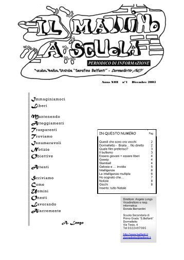 anno XIII dicembre 2005 - Scuola Media Belfanti