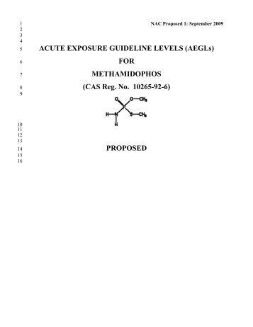 Methamidophos Propoed AEGL Document - US Environmental ...