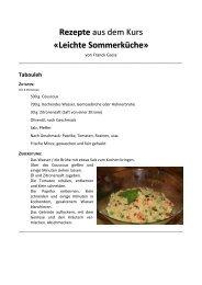 Rezepte aus dem Kurs «Leichte Sommerküche»