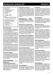 Musikschule Landkreis Hof 2010/2011 - VHS Landkreis Hof