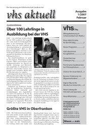 Ausgabe I/2007 - Download - VHS Landkreis Hof