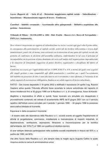 Lavoro (Rapporto di) - Socio di srl – Detenzione maggioranza ... - Inps