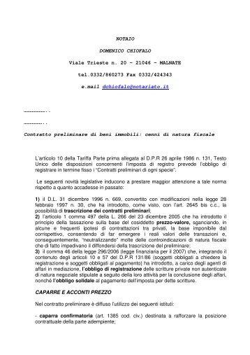 Captivating Contratto Preliminare Di Beni Immobili   Cenni Di Natura Fiscale