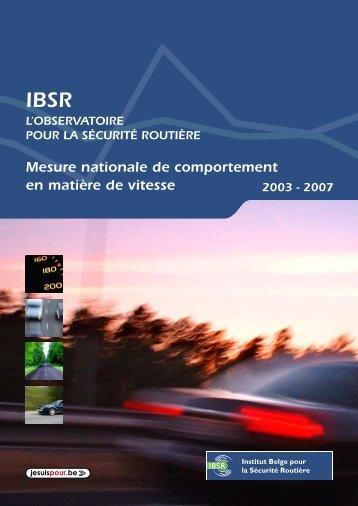 Mesure nationale de comportement en matière de vitesse 2003-2007