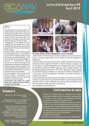 Lettre d'information n°45 Avril 2013 Sommaire L ... - EcoNav