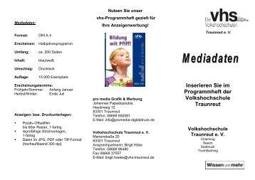 Mediadaten VHS Traunreut - Volkshochschule Traunreut