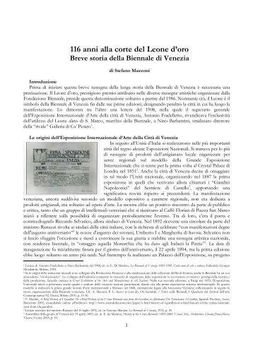 116 anni alla corte del Leone d'oro Breve storia della Biennale di ...