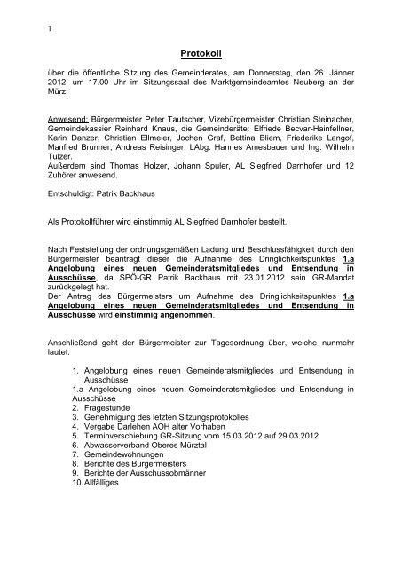 Inhaltsverzeichnis - Marktgemeinde Neuberg an der Mrz
