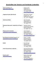 Anschriften der Vereine und Verbände Lindenfels