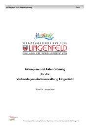 Aktenplan und Aktenordnung - Verbandsgemeinde Lingenfeld