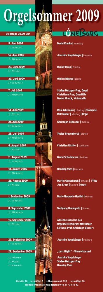 Orgelsommer 2009 - Kirche & Diakonie Lüneburg