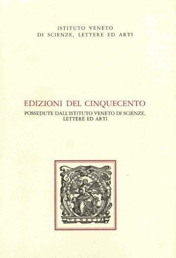 edizioni del cinquecento - Istituto Veneto di Scienze, Lettere ed Arti