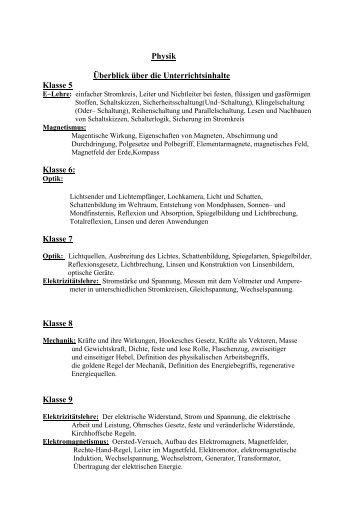 Lehrplan Physik Klassen 7 - Realschule Friesoythe