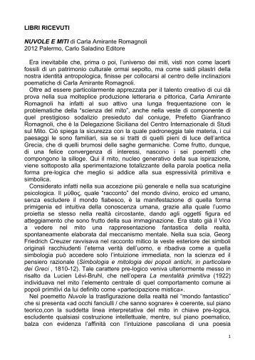 NUVOLE E MITI di Carla Amirante Romagnoli (1) - Centro ...