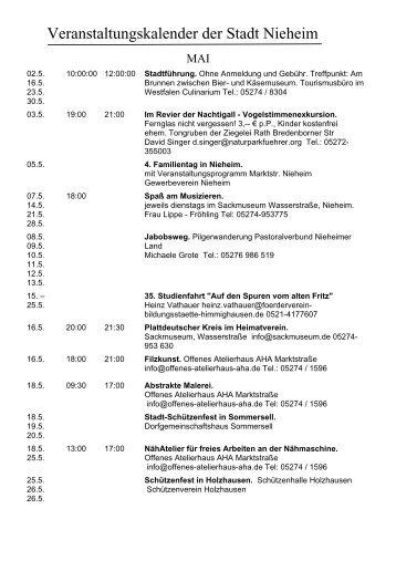 Veranstaltungskalender der Stadt Nieheim