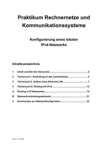 Praktikum Rechnernetze und Kommunikationssysteme - Lehrstuhl ...