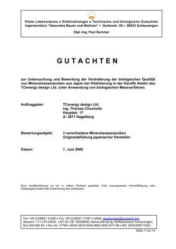Gutachten Mineralwasser Alladin - Lukoma Energetics