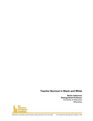 Teacher Burnout in Black and White