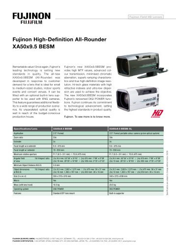 Fujinon High-Definition All-Rounder XA50x9.5 BESM - Videor
