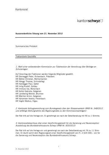 Summarisches Protokoll - Kanton Schwyz