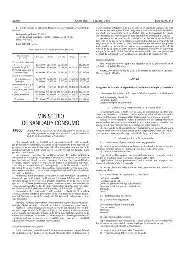 Endocrinología y Nutrición - Ministerio de Sanidad y Política Social