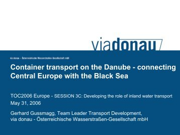 Container transport on European Inland waterways - via donau