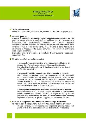 Abstract e curricula - Associazione Italiana Dislessia